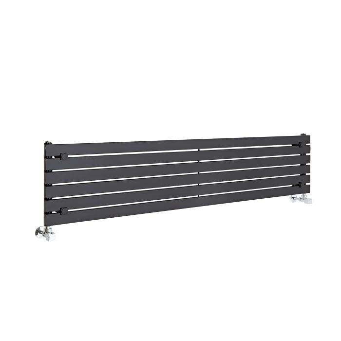 Radiatore di Design Orizzontale - Nero - 354mm x 1600mm x 54mm - 773 Watt - Sloane