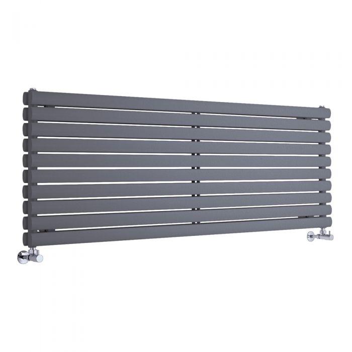 Radiatore di Design Orizzontale Doppio - Antracite - 590mm x 1780mm x 78mm - 2066 Watt - Revive
