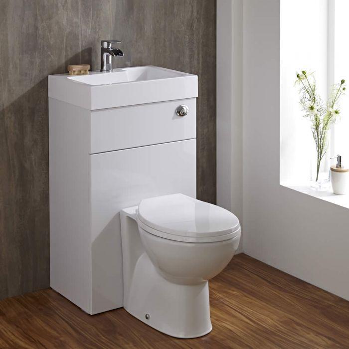 Set Bagno Colore Bianco Completo con Lavabo e Sanitario Integrato