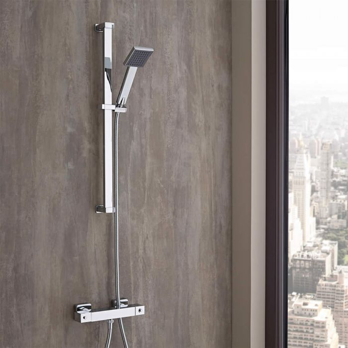 Kit doccia completo con asta saliscendi e miscelatore doccia termostatico esterno ad una via - Siliconare box doccia interno o esterno ...