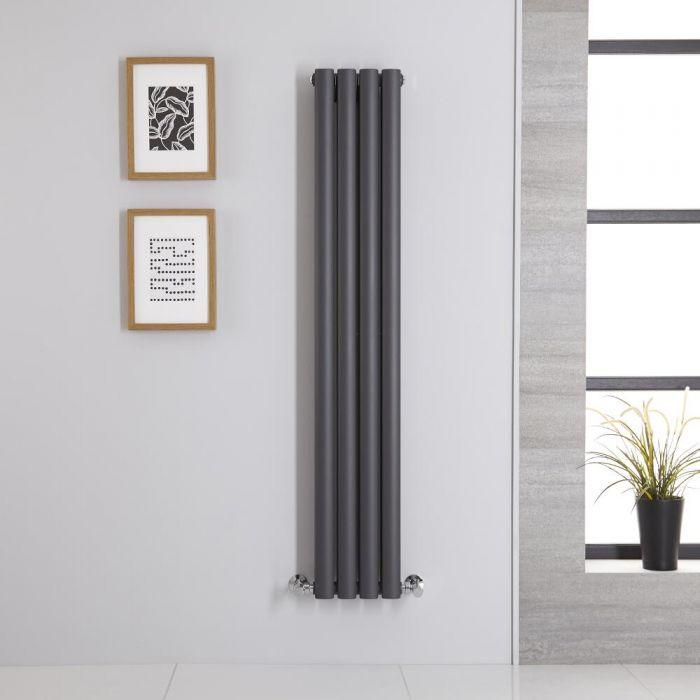 Radiatore di Design Verticale Doppio - Antracite - 1400mm x 236mm x 78mm - 696 Watt - Revive
