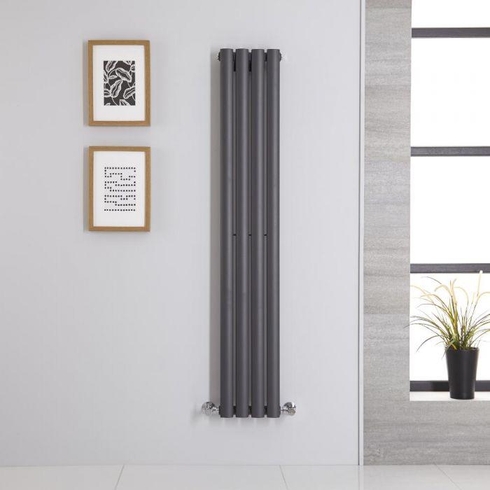 Radiatore di Design Verticale Doppio - Antracite - 1400mm x 236mm x 56mm - 457 Watt - Revive
