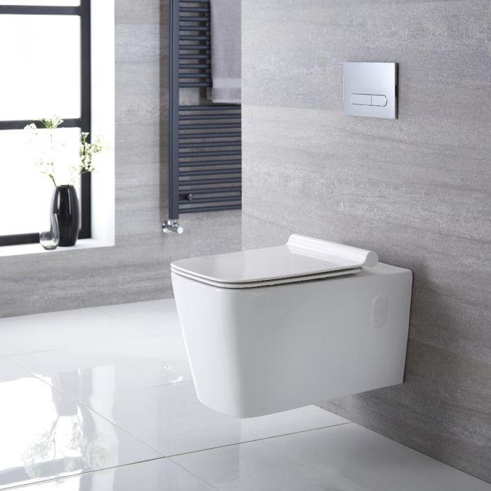 Sanitario Bagno WC Quadrato Sospeso 610x390x410mm con Coprivaso -  Sandford