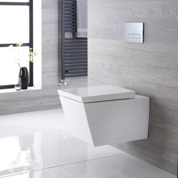 Sanitario Bagno WC Quadrato Sospeso 595x405x465mm con Coprivaso - Halwell