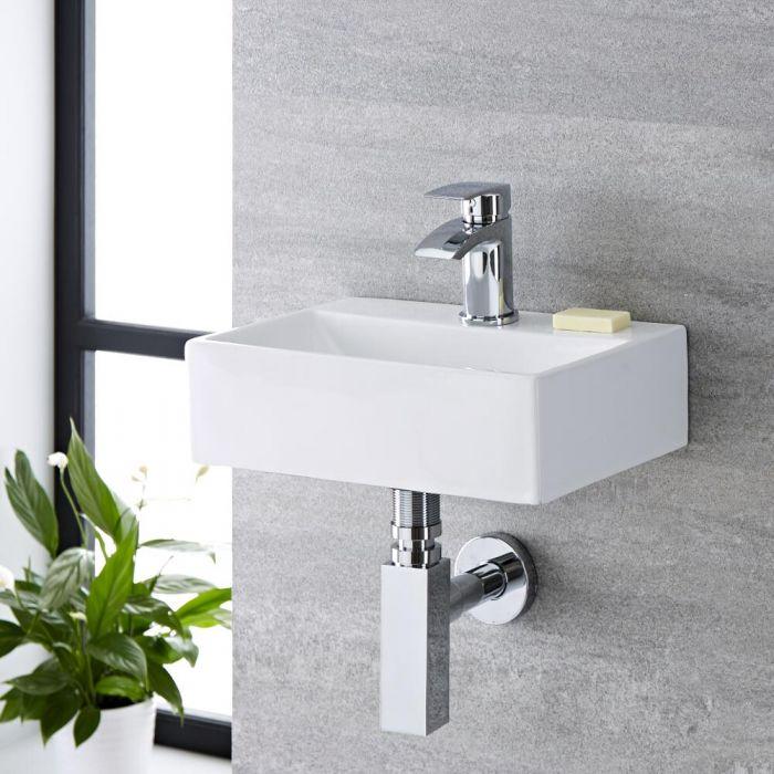 Lavabo Bagno da Appoggio Sospeso in Ceramica Ovale 360x250mm - Sandford