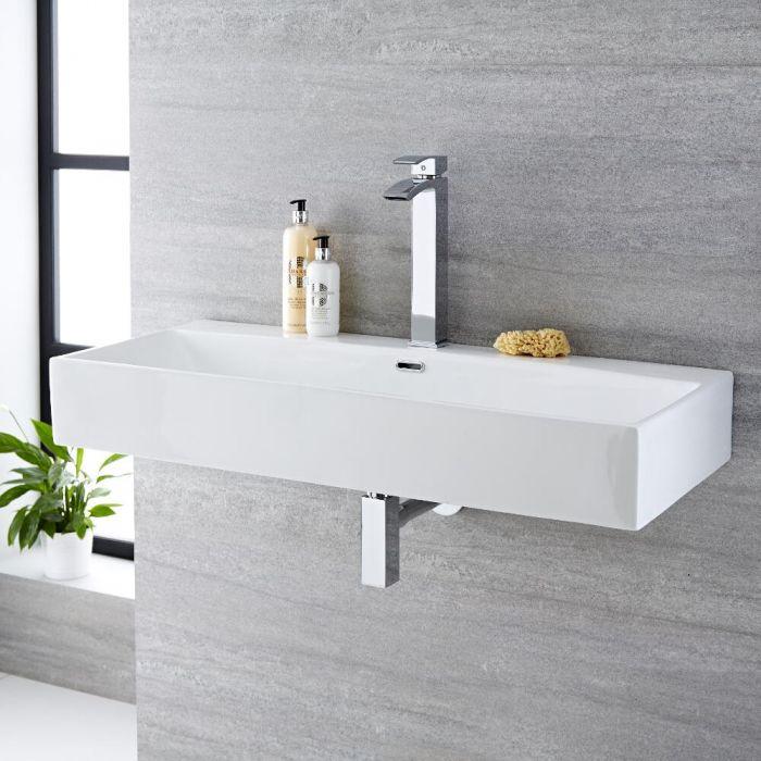 Lavabo Bagno da Appoggio Sospeso Rettangolare in Ceramica 1000x420mm - Sandford