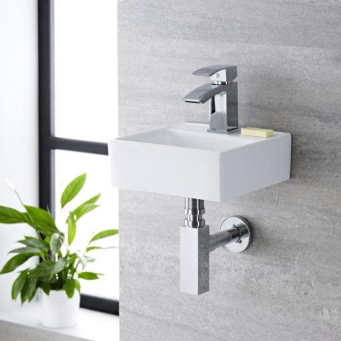 Lavabo Bagno da Appoggio Sospeso Quadrato in Ceramica 280x280mm - Halwell