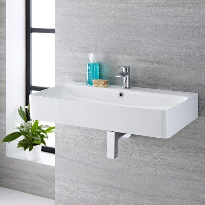 Lavabo Bagno da Appoggio Sospeso in Ceramica Rettangolare 800x415mm - Exton