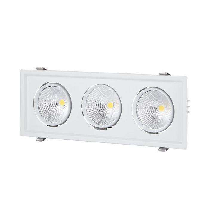 Faretto LED 90W Da Tre Luci Orientabili Da Incasso