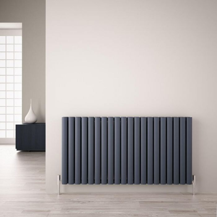 Radiatore di Design Orizzontale Doppio - Antracite - 600mm x 1190mm x 76mm - 2298 Watt - Revive Air