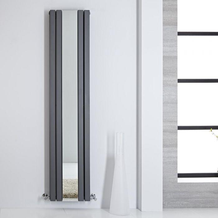Radiatore di Design - Verticale Con Specchio - Antracite - 1800mm x 385mm - 1344 Watt - Sloane