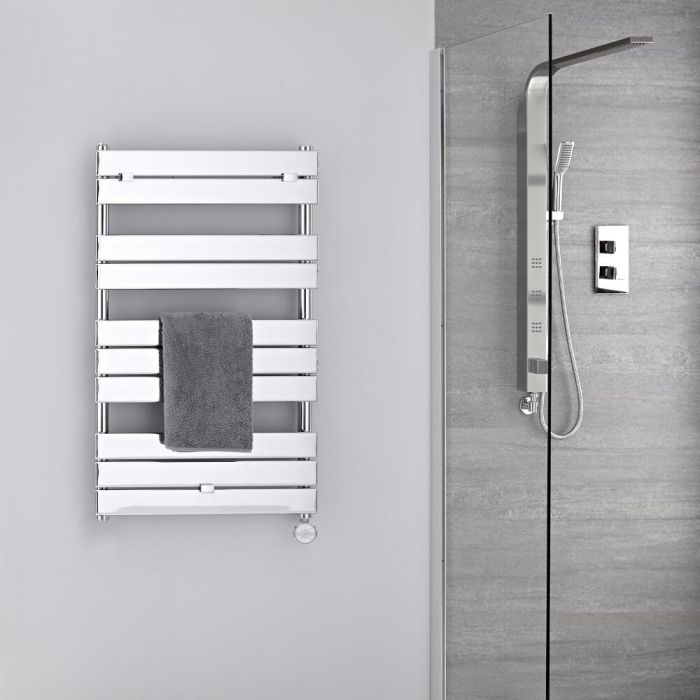 Radiatore Scaldasalviette Elettrico -  Piatto - Cromato - 1000mm x 600mm - Lustro