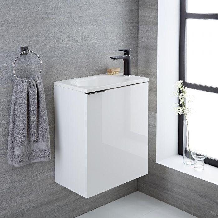 Mobile Bagno Colore Bianco Laccato 500x300x600mm con Lavabo Integrato - Randwick