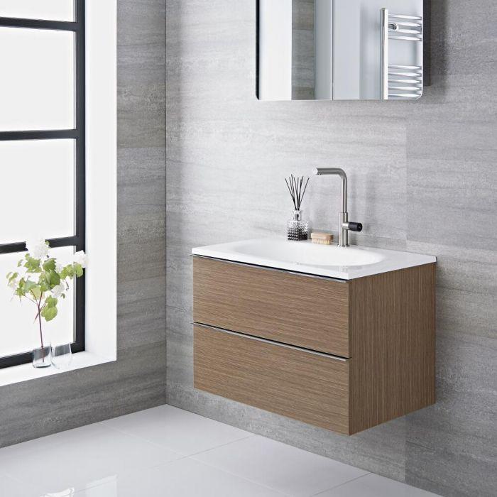 Mobile Bagno Colore Bianco Laccato 750x480x520mm con Lavabo Integrato - Randwick