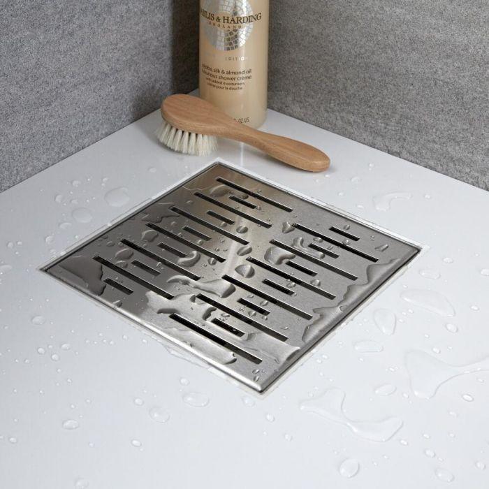 Kit completo con canaletta doccia quadrata e griglia 200mm