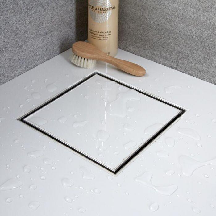 Kit completo con canaletta doccia quadrata e griglia 200mm con inserto piastrellabile