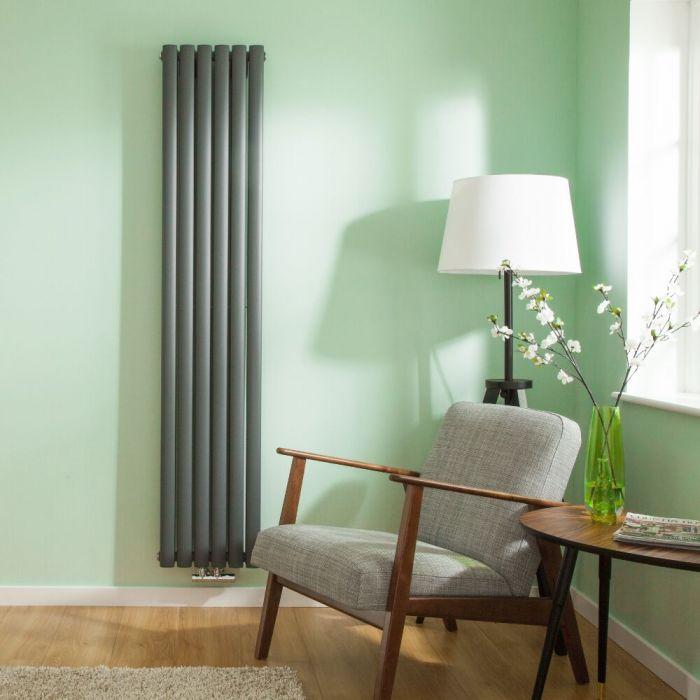 Radiatore di Design Verticale Doppio con Attacco Centrale - Antracite - 1780mm x 354mm x 56mm - 1301 Watt - Revive Caldae