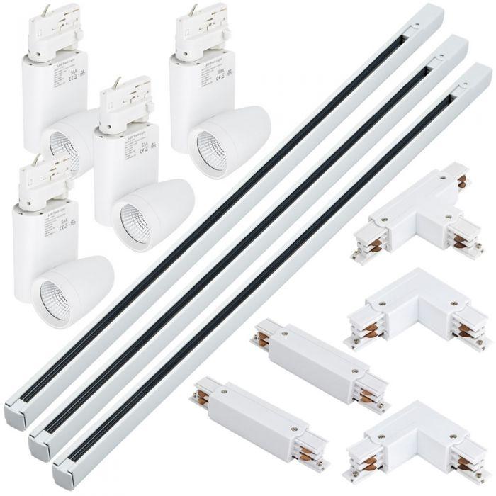 Kit Completo di Faretti LED su Binario e Connettori - Bianco