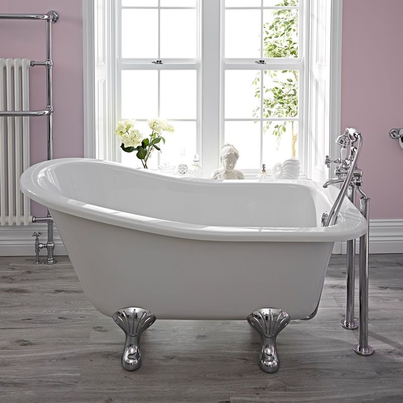 Vasca in acrilico freestanding centro stanza piccola tradizionale 1500x730mm con piedini - Vasche da bagno con piedini ...