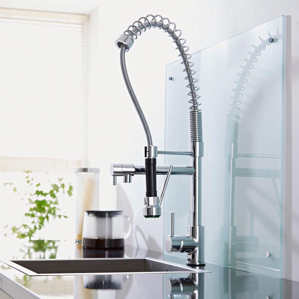 Rubinetto miscelatore monocomando lavello cucina con doccia - Scaldasalviette per cucina ...