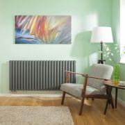 Radiatore di Design Orizzontale Doppio con Attacco Centrale - Antracite - 635mm x 1411mm x 78mm - 2503 Watt - Revive Caldae