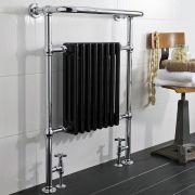 Radiatore Scaldasalviette Tradizionale - Acciaio - Cromato e Nero - 945x640mm - 1.066 Watt - President