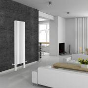 Radiatore di Design Verticale Doppio Con Piedini di Supporto - Bianco - 1800mm x 472mm x 78mm - 1638 Watt - Revive Plus