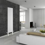 Radiatore di Design Verticale Doppio con Piedini di Supporto - Bianco - 2000mm x 472mm x 78mm - 1868 Watt - Revive Plus