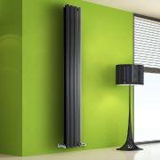 Radiatore di Design Verticale Doppio - Nero - 1780mm x 280mm x 86mm - 1079 Watt - Rombo