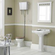 Set Bagno Completo di Lavabo e Sanitario Retro con Cassetta Alta - Ceramica Bianca