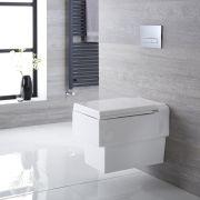 Sanitario Bagno WC Quadrato Sospeso 580x390x495mm con Coprivaso - Westby