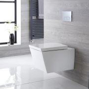 Sanitario Bagno WC Quadrato Sospeso 595x405x465mm con Coprivaso - Dalton