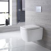 Sanitario Bagno WC Quadrato Sospeso 535x390x445mm con Coprivaso - Milton