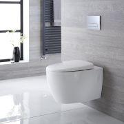 Sanitario Bagno WC Ovale Sospeso 610x420x480mm con Coprivaso - Altham