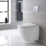 Sanitario Bagno WC Ovale Sospeso 600x470x470mm con Coprivaso - Rivington