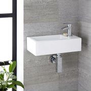 Lavabo Bagno da Appoggio Sospeso in Ceramica Rettangolare 450x250mm - Sandford