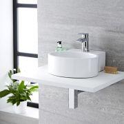 Lavabo Bagno da Appoggio Sospeso in Ceramica Ovale 345x330mm - Covelly