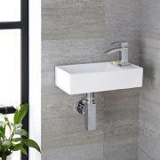 Lavabo Bagno da Appoggio Sospeso in Ceramica Rettangolare 400x220mm - Halwell