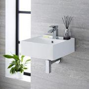 Lavabo Bagno da Appoggio Sospeso Quadrato in Ceramica 400x40mm - Halwell