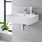 Lavabo Bagno da Appoggio Sospeso in Ceramica Rettangolare 600x310mm - Exton