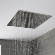 Soffione Doccia da Incasso Quadrato a Soffitto Quadrato  400 x 400mm Acciaio Inox - Trenton