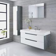 Mobile Bagno Doppio Colore Bianco Laccato 1200x500x600mm con Lavabo Integrato - Newport