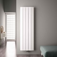 Radiatore di Design Verticale con Attacco Centrale - Alluminio - Bianco - 1800mm x 470mm x 45mm - 1919 Watt - Aurora