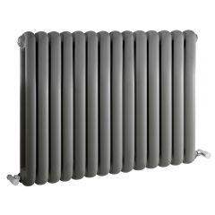 Radiatore di Design Orizzontale Doppio Tradizionale - Antracite - 635mm x 863mm x 80mm - 1496 Watt - Saffre