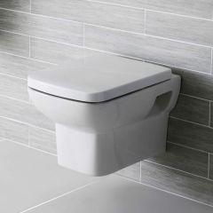 Vaso Sospeso WC in Ceramica con Sedile Copri WC Minimalista con Scarico Orizzontale