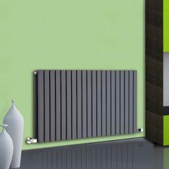 Radiatore di Design Orizzontale Doppio - Antracite - 635mm x 1180mm x 72mm - 1867 Watt - Sloane