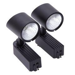 2 Faretti Spot LED COB 7W per Binario in Nero