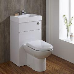 Set Bagno Completo con Lavabo e Sanitario Integrato Minimalist Colore Bianco