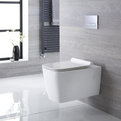Sanitario Bagno WC Quadrato Sospeso 610x390x410mm con Sedile Copri WC Soft Close -  Sandford