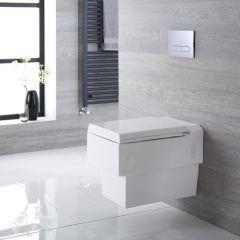 Sanitario Bagno WC Quadrato Sospeso 580x390x495mm con Sedile Copri WC Soft Close - Haldon